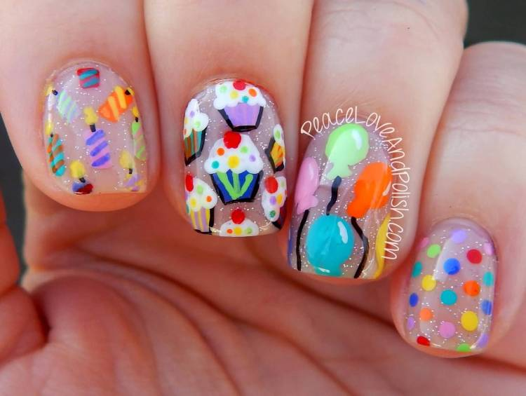 Colorful Ice Cream Birthday Nail Art