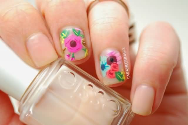 Colorful Nail Paint Accent Nail Art