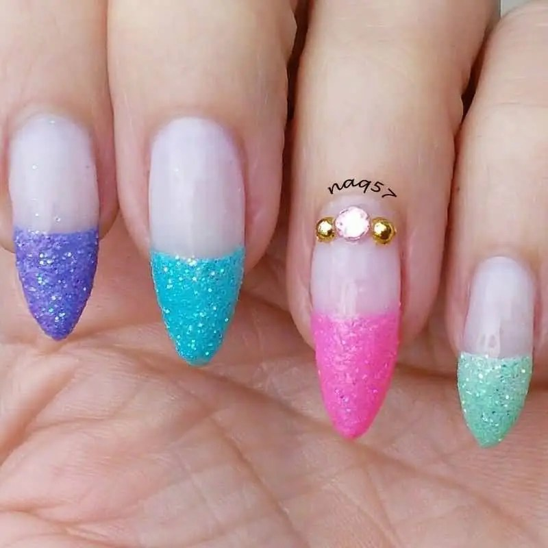 Colorful Sparkle Paint Glitter Accent Nail Art