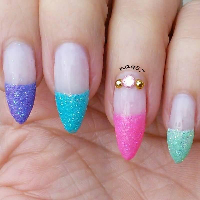 Colorful Sparkle Paint Glitter Accent Nail Art
