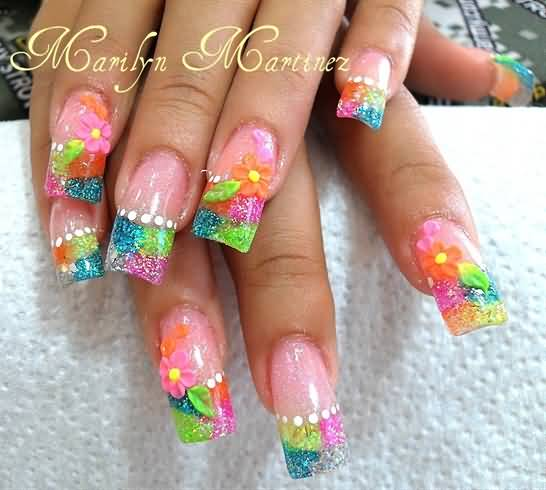 Colorful Tips With Flower 3D Acrylic Nail Art