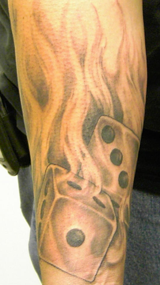 Cool Dice n Fire Tattoo Design For Boys