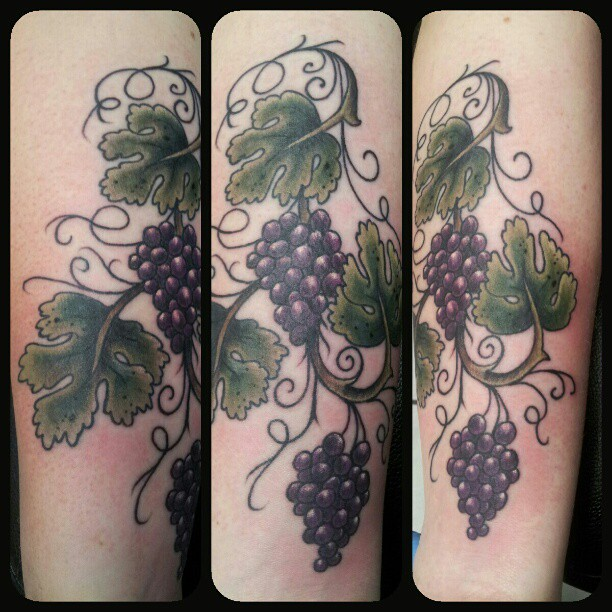 Cool Tumblr Grapes Tattoo Design For Girls