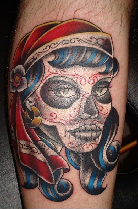 Coolest Dia De Los Muertos Lady Face Tattoo Design For Boys