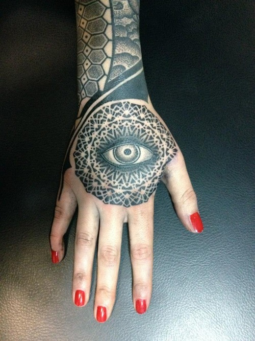 Coolest Eye Tattoo On Hand For Girls