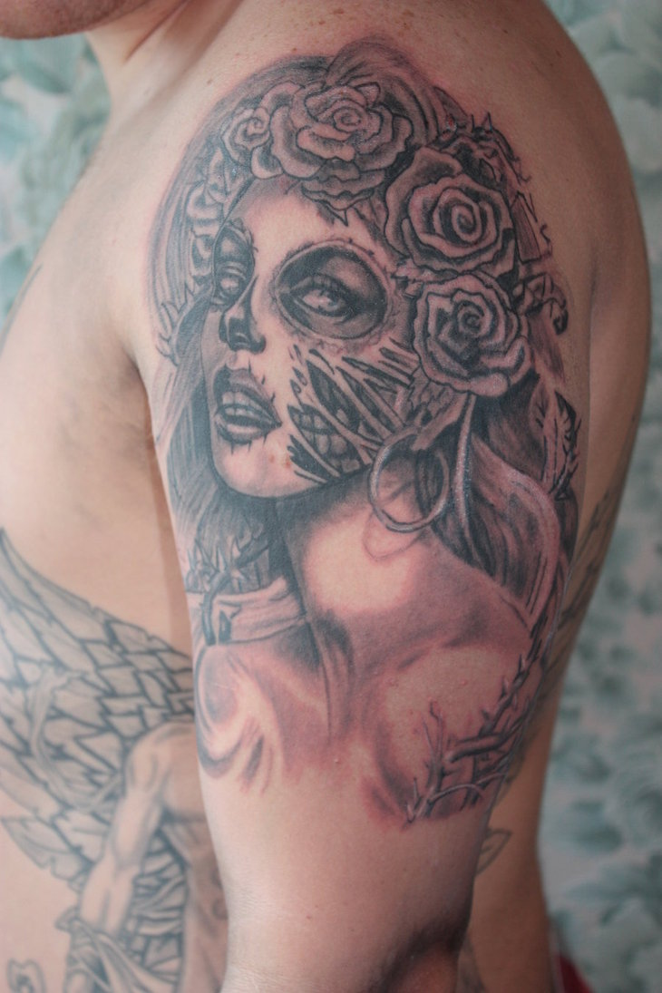 Coolest Half Sleeve Clown Girl Tattoo For Boys
