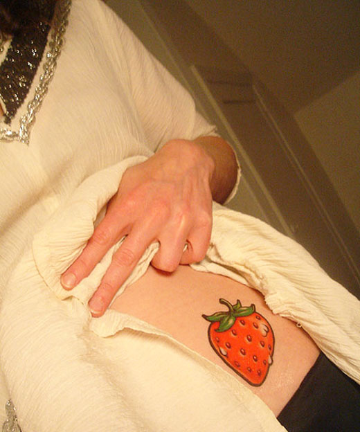 Coolest Strawberry Tattoo Design For Girls