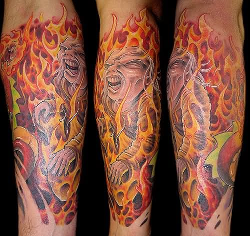 Crazy Fish Flame Tattoo On Leg For Boys