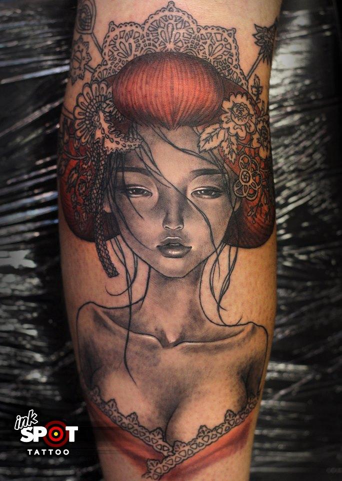 Crazy Geisha Pin Up Girl Tattoo Design For Girls