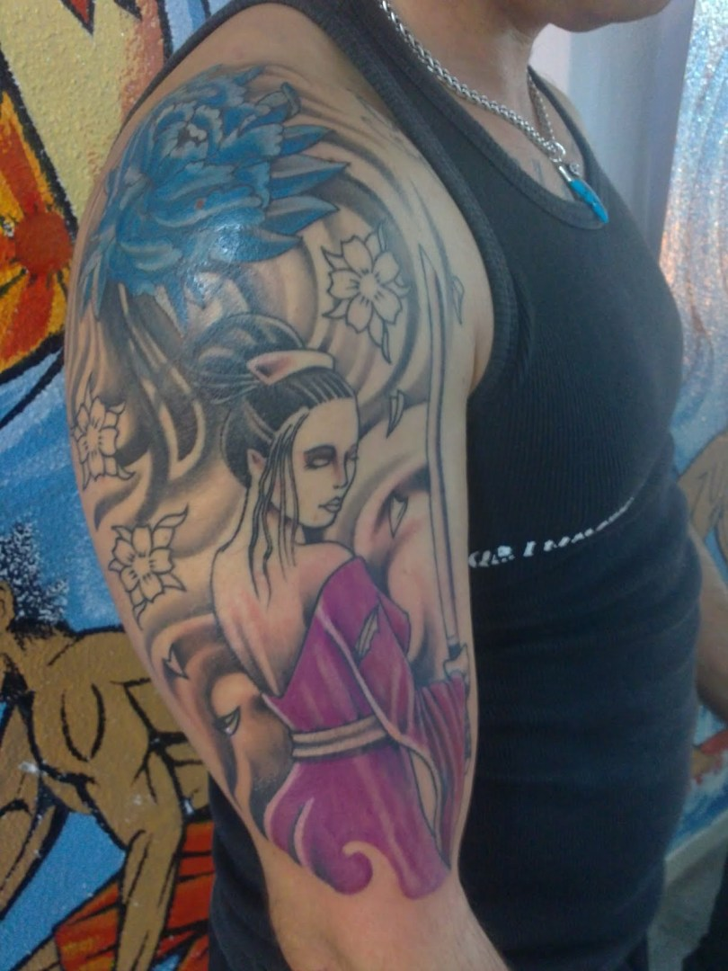 Crazy Geisha Tattoo On Half Sleeve For Boys