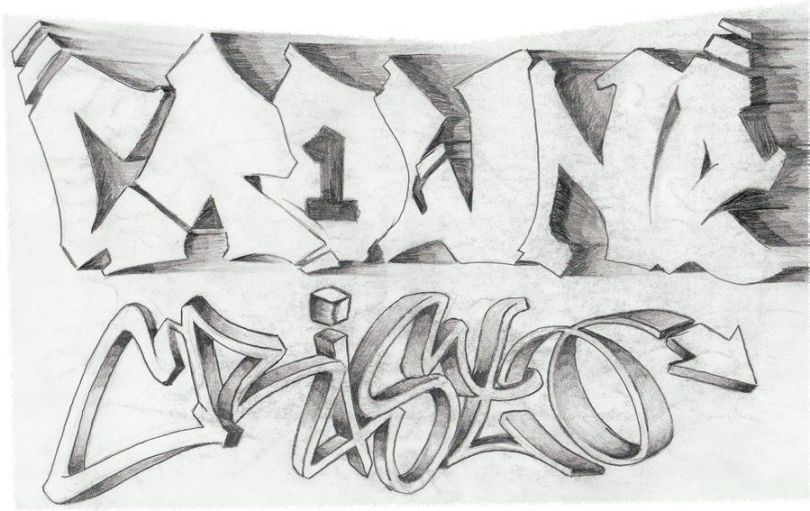 Crazy Graffiti Tattoo Sketch For Boys