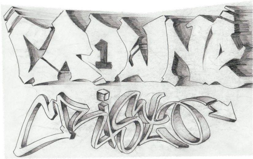 Crazy Graffiti Tattoo Sketch For Boys