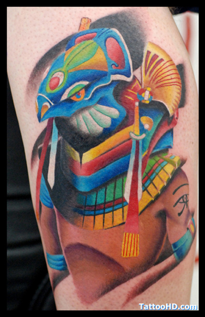 Crazy Symbolic Egyptian Tattoo Design For Girls
