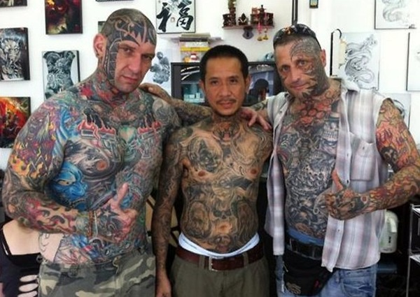 Crazy Three Dudes Covered In Full Body Tattoo Designs For Boys