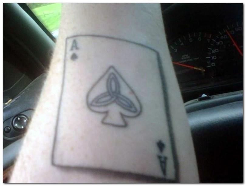 Creative Gambling Card Tattoo Design For Boys