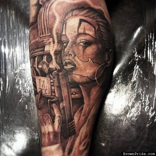 Creative Gangsta Clown Girl Tattoo Design For Girls