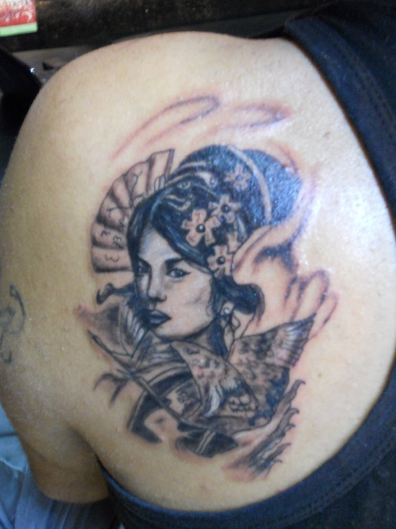 Creative Geisha Tattoo Design For Boys