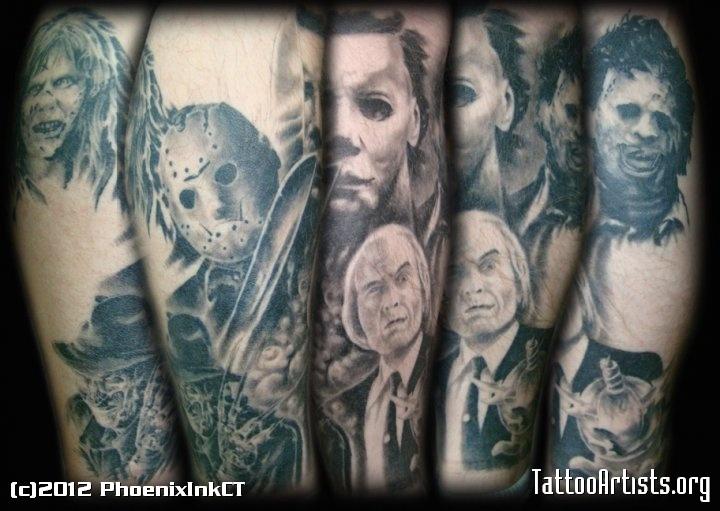Creative Horror Icon Leg Sleeve Tattoo Design For Girls