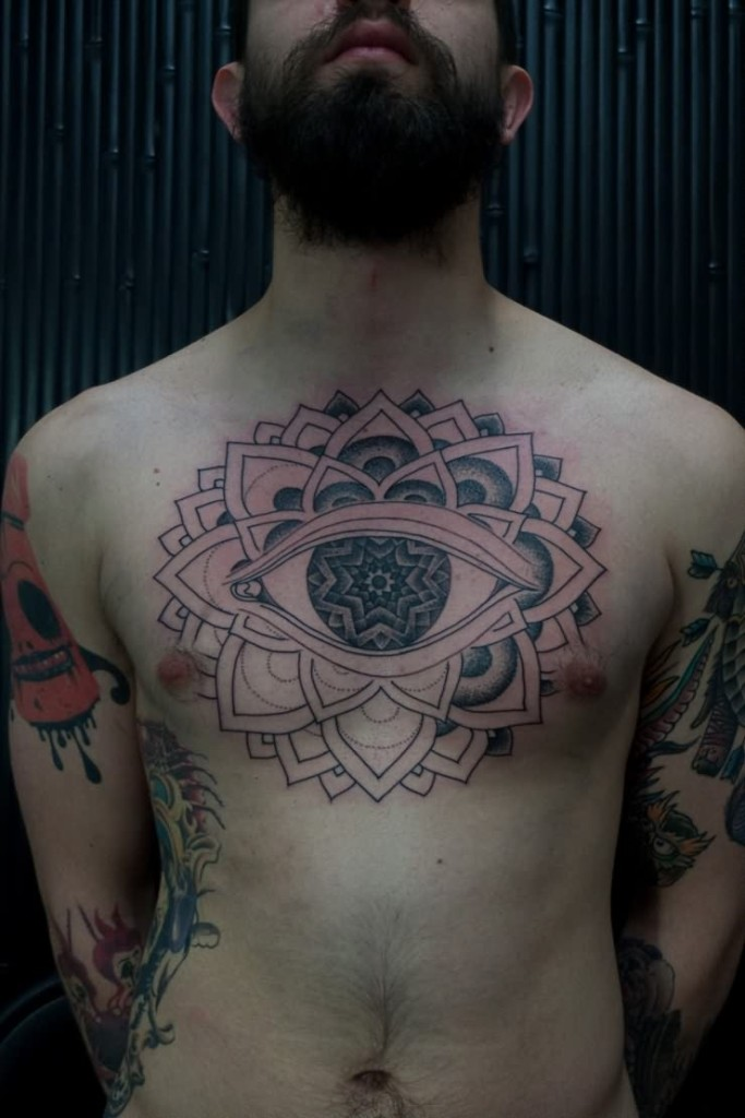 Creative Tribal Eye Tattoo On Chest For Boys