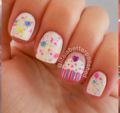 Cupcake Accent Nail Art Design