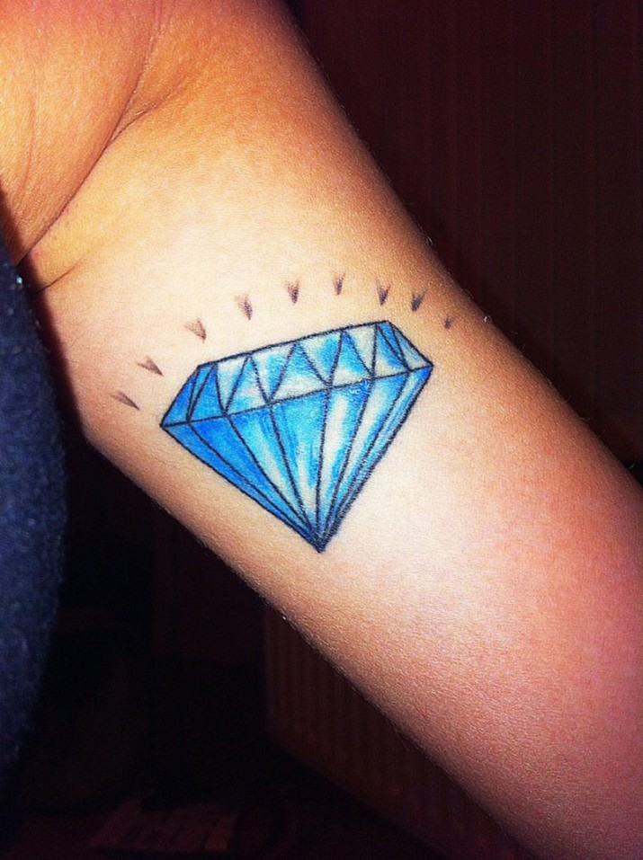 Custom Blue Diamond Tattoo On Muscles For Girls