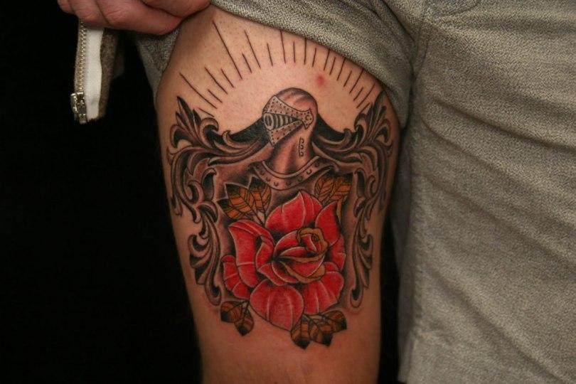 Custom Family Crest Tattoo On Arm For Boys