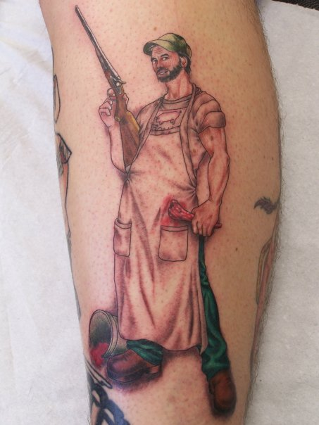Custom Funky Guy With Gun Tattoo Design For Boys