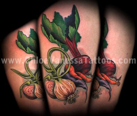 Custom Vegetable Garlic Radish Beet Carrot Tattoo Design For Girls