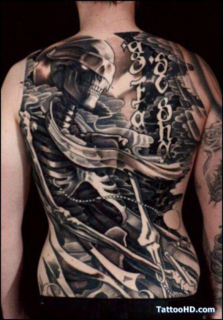 Cute HD Gangsta Skull Tattoo On Back Body For Boys