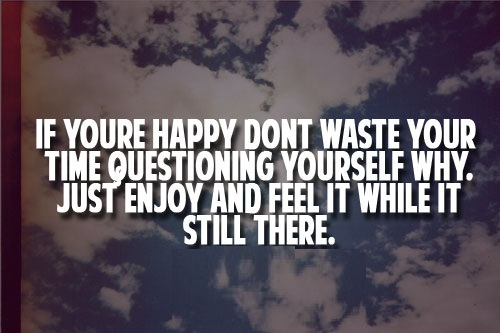Cute Life Quotes If you are happy don't waste your time questioning yourself why