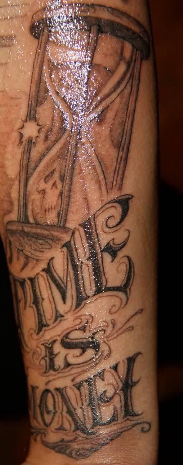 Cute Time Is Money Glass Tattoo For Boys