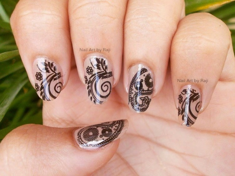 Cutest Black And Beige Nail Art With Flower And Leaves Design