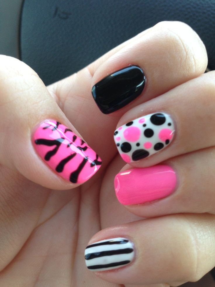 Cutest Black And Pink Nails With 4 Different Design