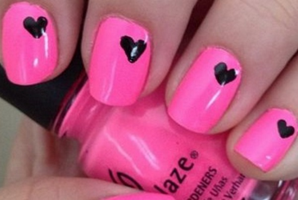 Cutest Black And Pink Nails With Black Heart Design