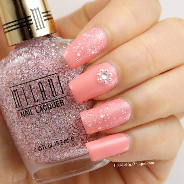 Cutest Pink Nail Paint With Diamond Accent Nail Art