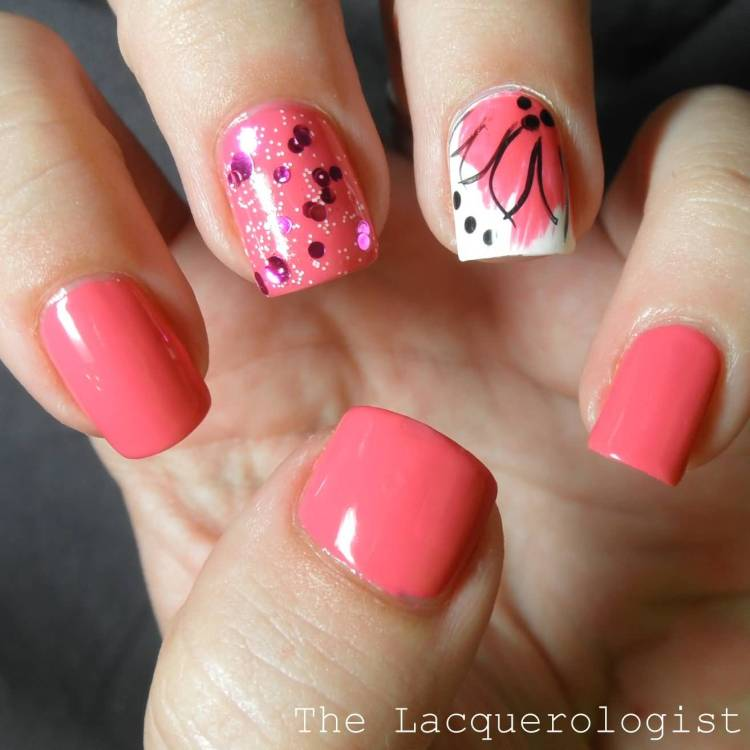 Cutest Pink Paint With Black Dot Accent Nail Art