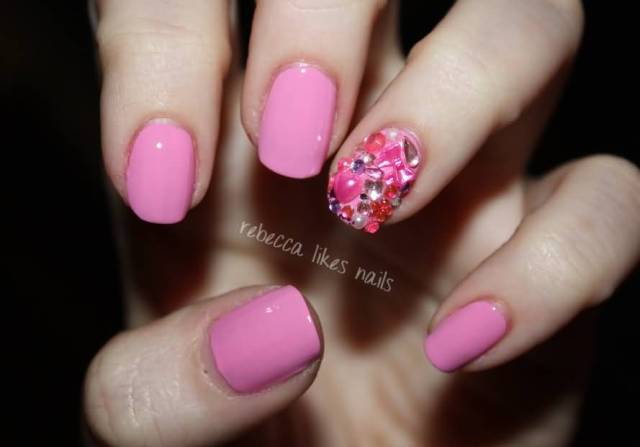 Cutest Pink Paint With Rhinestones Accent Nail Art