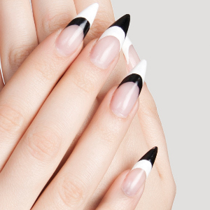 Cutest Stiletto Nails With Black And White Tips