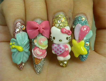 Cutest Teddy Nail Art 3D Rose Flower Nail Art