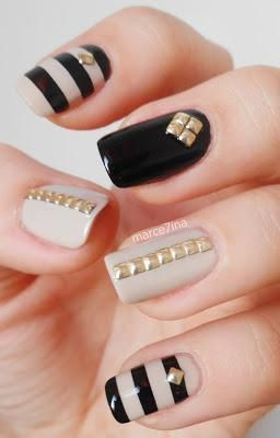 Dashing Black And Beige Nail Art With Golden Lining Design