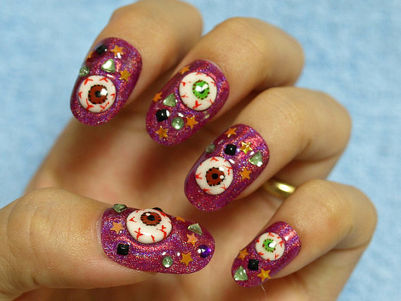 Dashing Dark Pink With 3D Eye 3D Nail Art