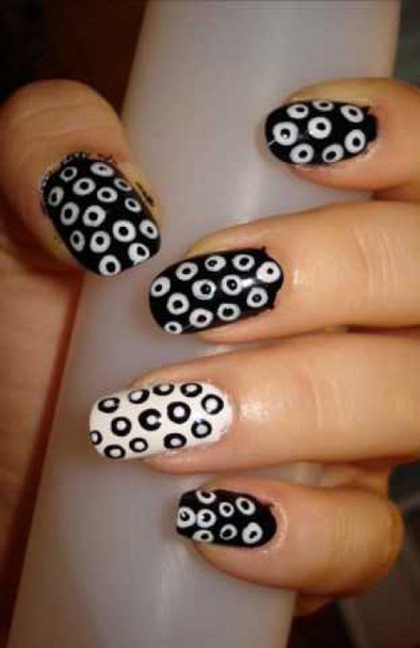 Dashing Eye Design On Black And White Nail Art