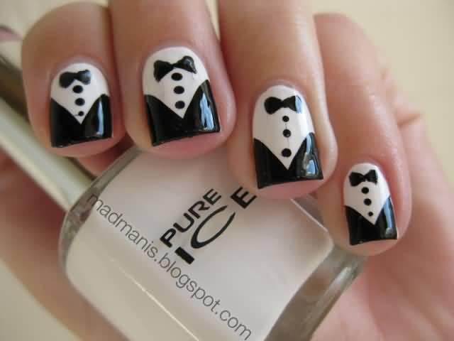 Dashing Gentleman Dress Black And White Nail Art Design