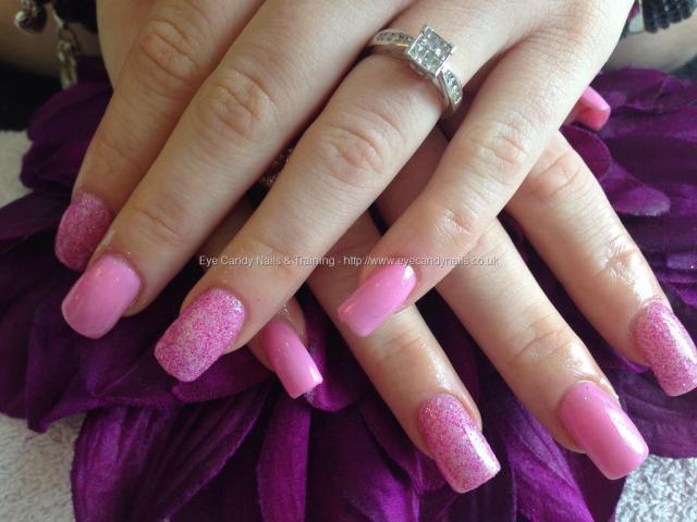 Dashing Pink Nail With Sparkling Paint Design Pink Acrylic Nail Design