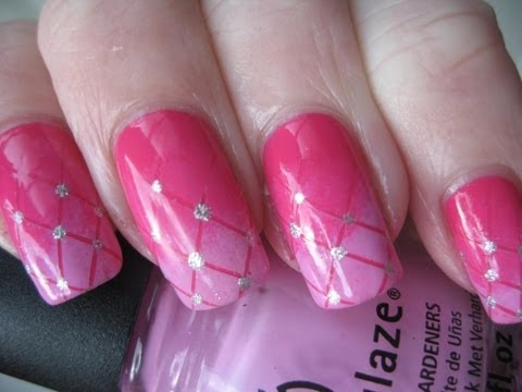 Dashing Pink Nails With Great Stones Pink Acrylic Nail Art Design