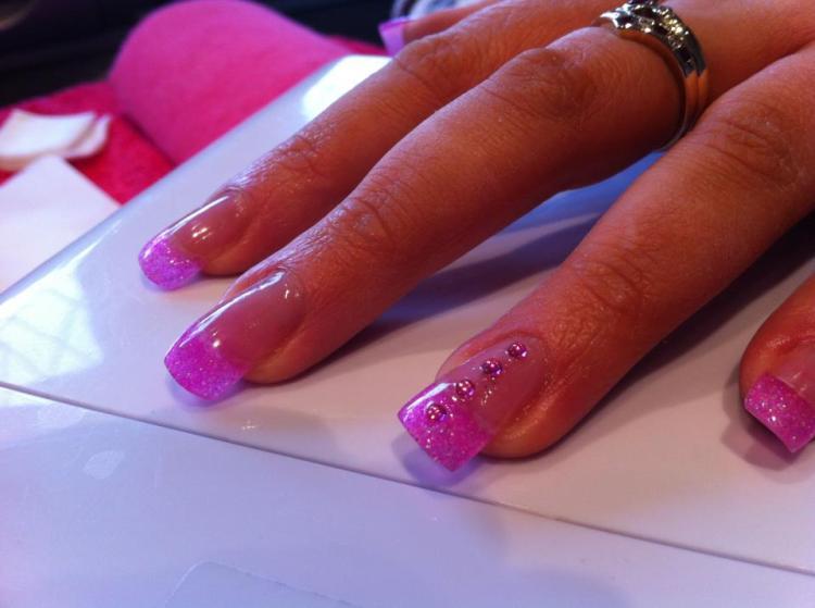 Dashing Pink Tips With Stones Pink Acrylic Nail Art Design