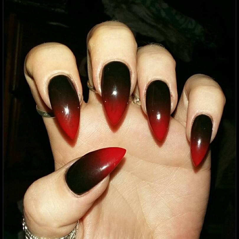 Dashing Red And Black Nails With Sharp Nail Design