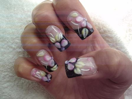 Designer Flower With Leaves 3D Acrylic Nail Art