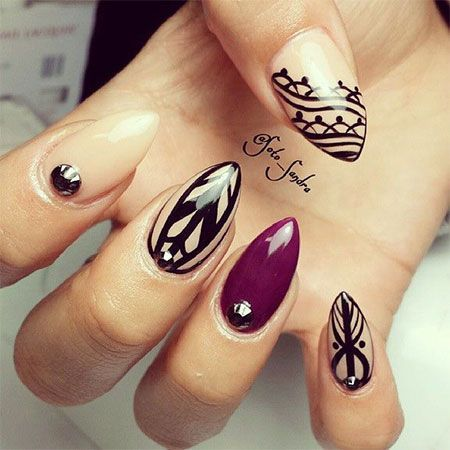 Different Design With Black And Dark red Color Almond Shaped Acrylic Nail Art