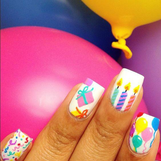 50 Ultimate Birthday Nails Art Designs,Styles Idea